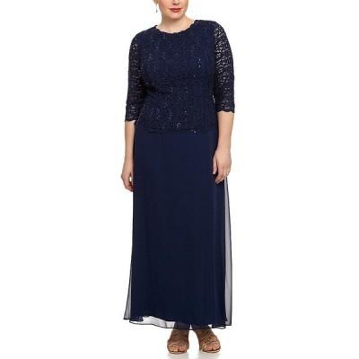 アレックスイブニングス レディース ワンピース トップス Plus Sequin Lace Scalloped Hem Bodice Chiffon Skirted Dress Navy