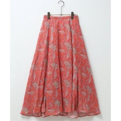 【ミューカ】リネンペイズリーパネルフレアスカート