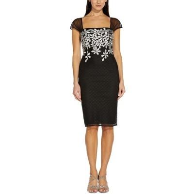 アドリアナ パペル ワンピース トップス レディース Embroidered-Floral Sheath Dress Black/Ivory