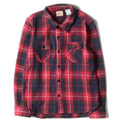 FIVE BROTHER ファイブブラザー シャツ 1950年代復刻 ヘビーチェック ネルシャツ USA製 レッド ネイビー M 【メンズ】【中古】【K2961】