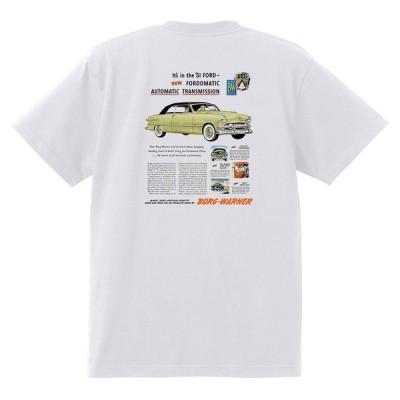 アドバタイジング フォード Tシャツ 白 1040 黒地へ変更可 1951 ビクトリア クレストライナー シューボックス ホットロッド ロカビリー