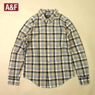 アバクロ チェックシャツ アバクロンビー 長袖 ポケットあり ボタンダウン メンズ XSサイズあり グレー×ベージュ