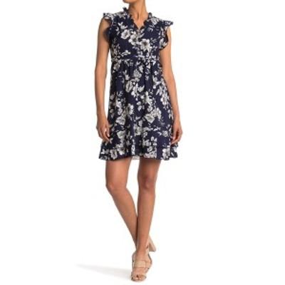 パピロン レディース ワンピース トップス Floral Waist Tie Ruffle Dress NAVY