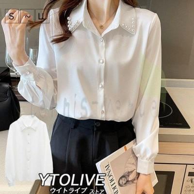 シャツ ブラウス レディース トップス 長袖 襟付き 白シャツ 白ブラウス 大きいサイズ