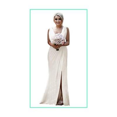 Pleated Chiffon Split V-Neck Bridesmaid Dresses Long Formal Evening Beach Wedding Ivory並行輸入品