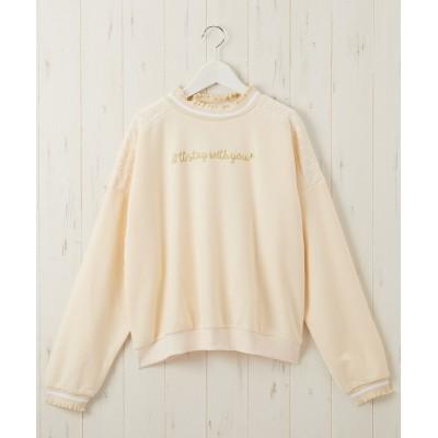 あったか裏起毛レース使い刺しゅうトレーナー(女の子 子供服・ジュニア服) (トレーナー・スウェット)Kids' Sweatshirts