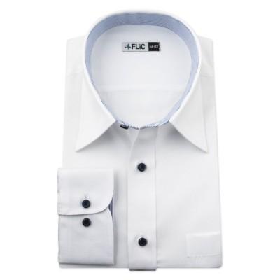 【フリック】 ワイシャツ メンズ レギュラーカラー 長袖 形態安定 シャツ ドレスシャツ ビジネス ノーマル スリム yシャツ カッターシャツ 定番 ドビー 織柄 おしゃれ メンズ その他 L(84)ノーマル FLiC