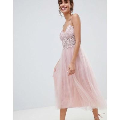 エイソス ASOS DESIGN レディース ワンピース ワンピース・ドレス Premium Lace Cami Top Tulle Midi Dress Mink