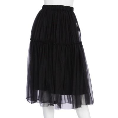 チュールレイヤードスカート (BK)