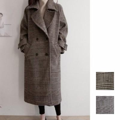 韓国 ファッション レディース アウター コート 秋 冬 カジュアル naloG227  ビッグシルエット ミモレ丈 オフィス シンプル コーデ 定番