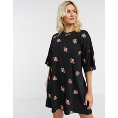 エイソス レディース ワンピース トップス ASOS DESIGN oversized t-shirt dress with floral embroidery all over design Black