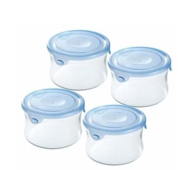 iwaki(イワキ) 耐熱ガラス 保存容器 アクアブルー 丸型 S 490ml ×4個セット パック&レンジ KBT7401HBL