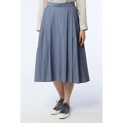 HUMAN WOMAN / ヒューマンウーマン C/NYシャンブレースカート タックフレアスカート
