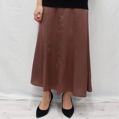 サテンマーメイドスカート/ブラウン/S