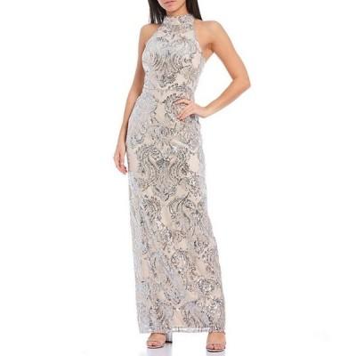 ヴィンスカムート レディース ワンピース トップス Sleeveless Halter Neck Damask Sequined Gown
