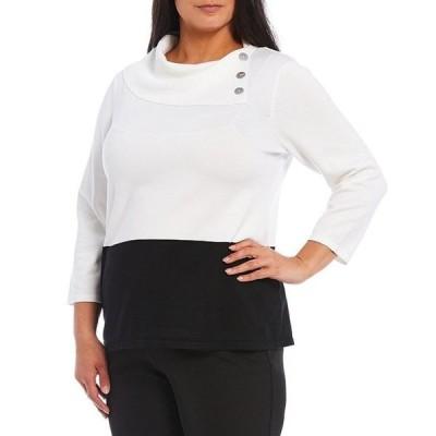 インベストメンツ レディース パーカー・スウェット アウター Plus Size 3/4 Sleeve Fold Collar Colorblock Sweater