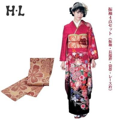 振袖4点セット(振袖・長襦袢・袋帯・レース衿) ブランド H・L(アッシュエル) No.20