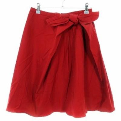 【中古】アナイ スカート フレア ひざ丈 バックファスナー 薄手 リボン コットン 無地 36 赤 ボトムス レディース