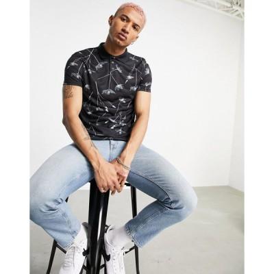 ボロンガロトレバー メンズ ポロシャツ トップス Bolongaro Trevor all over print polo shirt Black