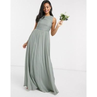 エイソス レディース ワンピース トップス ASOS DESIGN Bridesmaid maxi dress with soft pleated bodice Olive