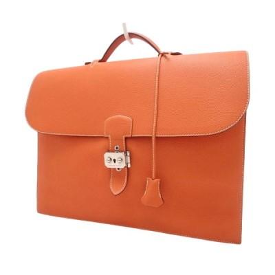 エルメス サックアデペッシュ38 ブリーフケース ビジネスバッグ 書類 トゴ オレンジ □F刻印 40800059627【アラモード】