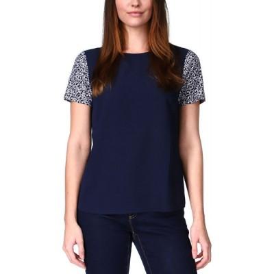 マイケル コース Michael Kors レディース Tシャツ トップス Printed-Sleeve T-Shirt Midnight Blue