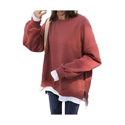 [ミニマリ] トレーナー レディース ゆったり スウェット tシャツ 長袖 カットソー 無地 トップス 赤 裏起毛 XL