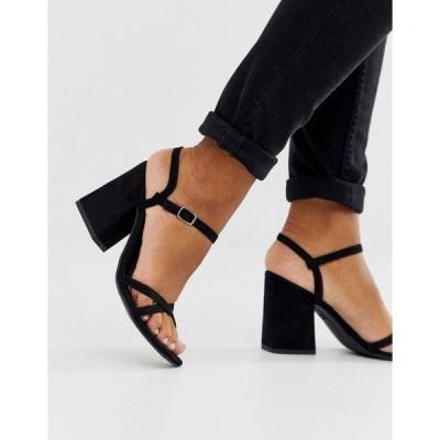 ニュールック レディース サンダル シューズ New Look low block barely there sandal in black PU Black