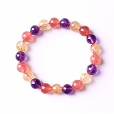 Alex's Wish List Natural Amethyst Gold Rutilated Strawberry Crystal Round Beads Stretch Bracelet| Natural Quartz Crystal Healing