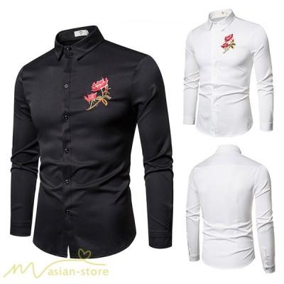 シャツ 秋 冬 メンズシャツ 新作 人気 刺繍 花柄 シンプル カジュアルシャツ 長袖 開襟 着こなし シルエット 白シャツ 黒シャツ 大きいサイズ メンズトップス