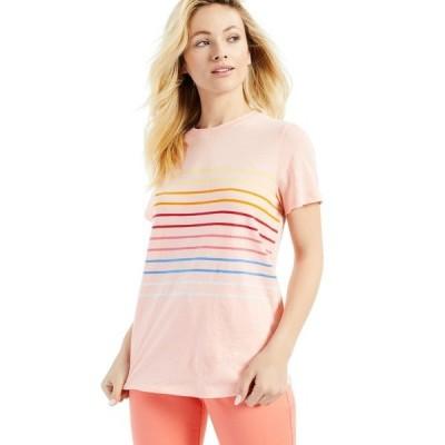 スタイルアンドコー Tシャツ トップス レディース Cotton Striped T-Shirt, Created for Macy's Stripe Pink