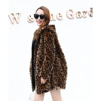 韓国ファッション レディースアウター もこもこアウター 可愛いアウター 冬  中・長セクション ヒョウコート フェイクファー ウインドブレーカー