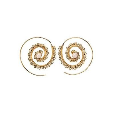【新品】81stgeneration女性用ゴールドトーン真鍮45mm Tribal模造宝石スパイラルThreaderイヤリング