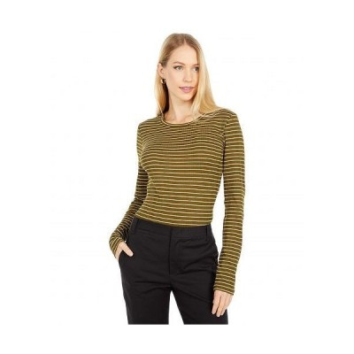 Vince ヴィンス レディース 女性用 ファッション Tシャツ Variegated Rib Striped Long Sleeve Crew - Botanica/Off-White
