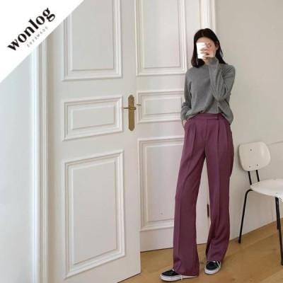 WONLOG レディース パンツ Winter Fold Slacks; Purple
