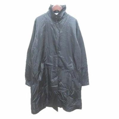 【中古】メルローズ MELROSE スタンドカラーコート ロング ナイロン 黒 ブラック /YK レディース