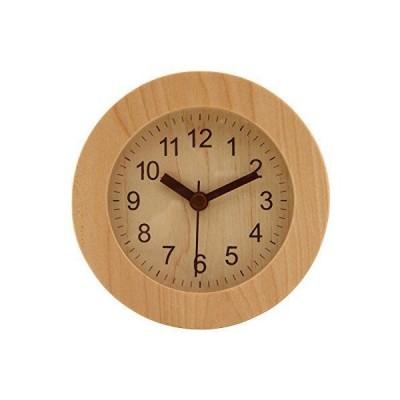 不二貿易 アラームクロック ラウンド ウッド 置き時計 ナチュラル 32709