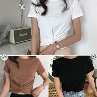 クロップド Tシャツ ツイスト 黒 白 茶色 レディース