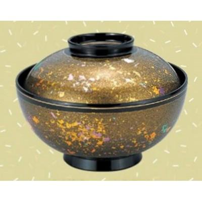 お椀 蓋付き 4.5寸 仙才雑煮椀 金光彩高台内金ライン 耐熱ABS樹脂 食器洗浄機対応 f6-247-2