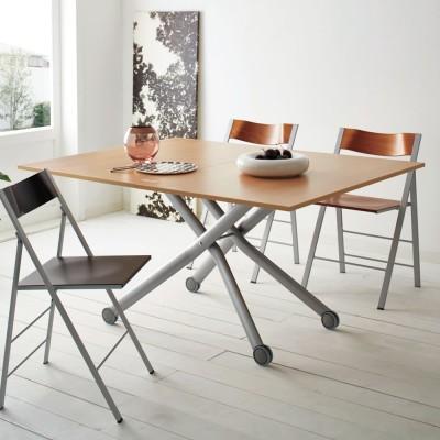 Lift-Up リフトアップ イタリア製昇降エクステンションテーブル[昇降式・伸長式・キャスター付き] テーブル幅110cm×70cm[伸長時140cm×110cm] ホワイト