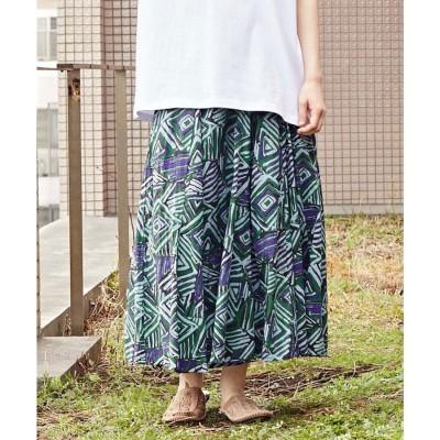 【チャイハネ】アフリカンジオメ柄ロングスカート グリーン