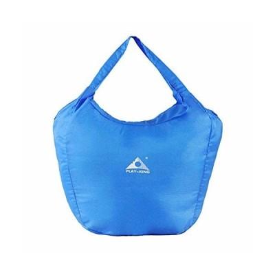 買い物袋 折りたたみ エコバッグ ビッグサイズ ファスナー付き (ブルー)