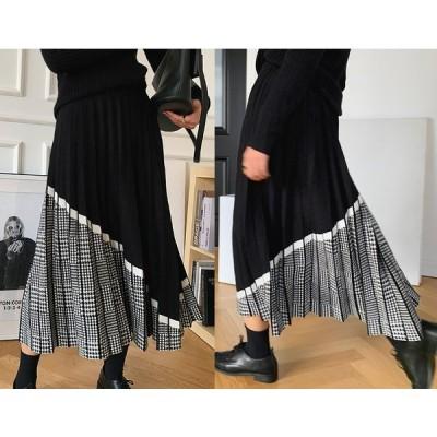 スカート フリル 切り替え バイカラー 体型カバー 着痩せ チェック柄 シンプル sweet系