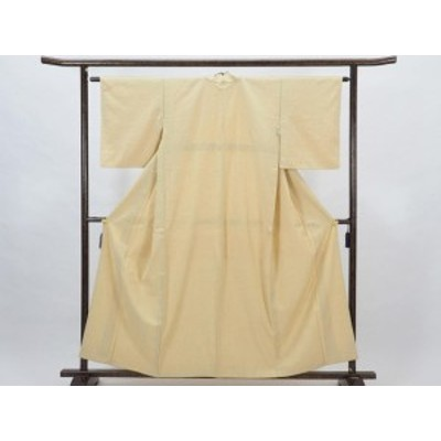 【中古】リサイクル紬 / 正絹ベージュ地袷真綿紬着物 (古着 中古 紬 リサイクル品)