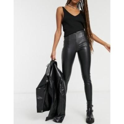 トップショップ レディース カジュアルパンツ ボトムス Topshop faux leather pants in black Black