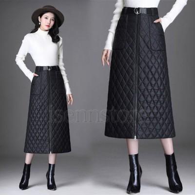 ロングスカート ダウンスカート 冬服 あったか 中綿 キルトスカート レディース Aラインスカート ミモレ丈 ハイウエスト 軽量 暖かい 防寒 キルティングスカート