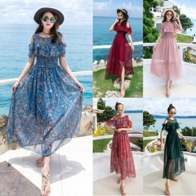 春夏 ドレス ロングドレス サマードレス ビーチワンピース ワンピース シフォン 透け感 袖あり パーティ
