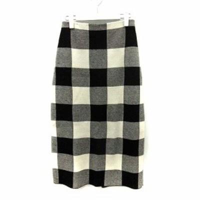 【中古】イエナ スローブ IENA SLOBE 18AW スカート ニット フレア ロング チェック ウール混 黒 白 ●D レディース