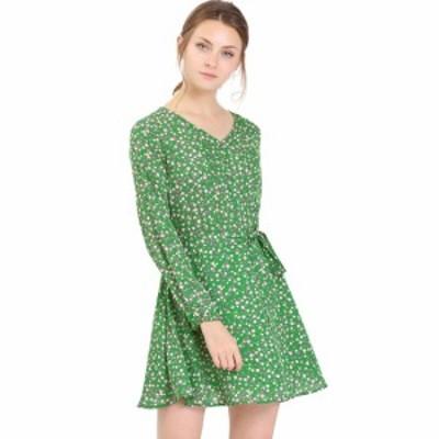 Allegra K 花柄 ワンピース ドレス Vネック Aライン ウェストリボン 長袖 膝上 ベルト付き レディース グリーン XS