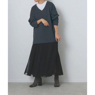 ニット ウォッシャブル 深Vネックニット×チュールスカート セット【手洗い可能】